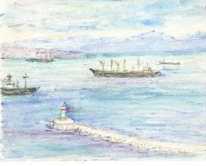 Marjorie's pastel of The Bay of Naples