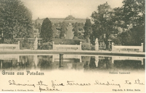 Marjorie's postcard of the terraces at Sanssouci, 1903